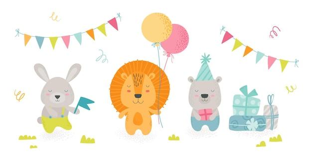 Śliczne zwierzęta w stylu skandynawskim boho świętują przyjęcie urodzinowe. kawaii królik, lew i niedźwiedź trzymający sprzęt świąteczny balony, prezenty i flaga, projekt dla dzieci. ilustracja kreskówka wektor