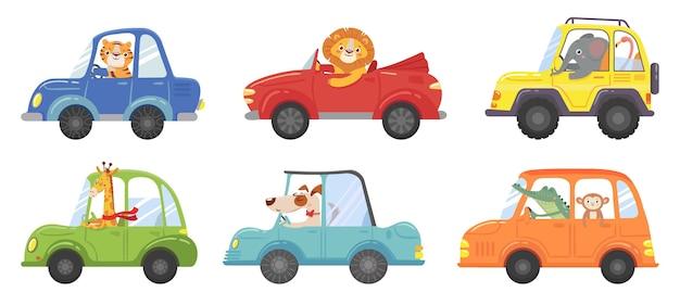 Śliczne zwierzęta w zabawnych samochodach. kierowca zwierzęcia, pojazd dla zwierząt domowych i szczęśliwy lew w dziecięcym samochodzie. przewóz zwierząt lub postaci lwa i psa w samochodach. zestaw ikon ilustracja kreskówka na białym tle wektor