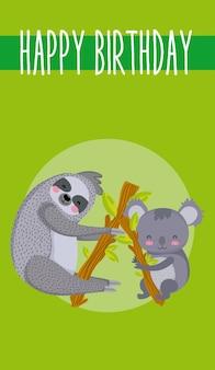 Śliczne zwierzęta wszystkiego najlepszego z okazji urodzin karciana śliczna kreskówka