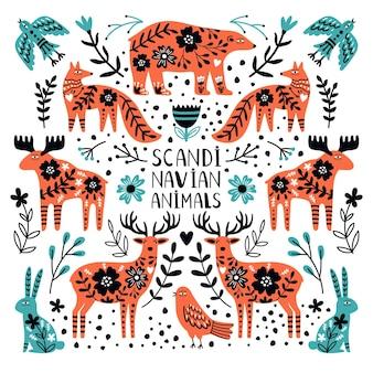 Śliczne zwierzęta z północy. skandynawskie dzikie stworzenia, niedźwiedź i jeleń, królik i lis między gałęziami i jagodami, ilustracja wektorowa nordyckich zwierząt na białym tle