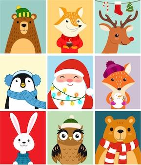 Śliczne zwierzęta zestaw zimowych pocztówek