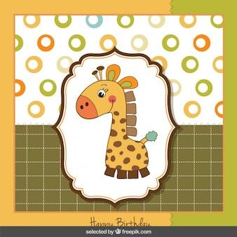 Śliczne żyrafa kartka urodzinowa
