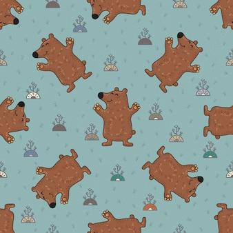 Ślicznego doodle plemienny bezszwowy wzór z niedźwiedziami.