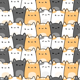 Ślicznego kot figlarki kreskówki doodle bezszwowy wzór