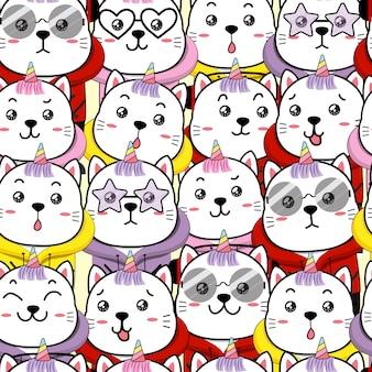 Ślicznego kota jednorożec bezszwowa deseniowa kreskówka