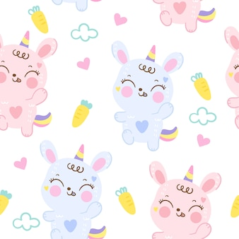 Ślicznego królika królika bezszwowa deseniowa kreskówka
