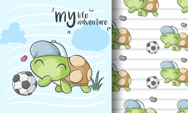 Ślicznego małego żółwia bezszwowy deseniowy ilustracyjny dziecięcy