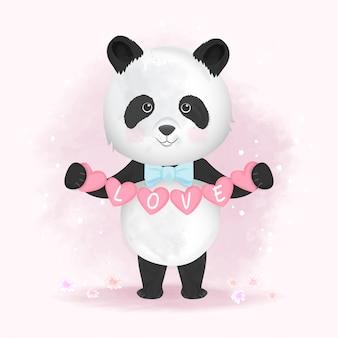 Ślicznego pandy mienia kreskówki kierowa ręka rysująca ilustracja