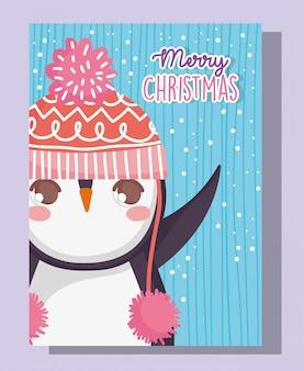 Ślicznego pingwinu szczęśliwi wesoło boże narodzenia