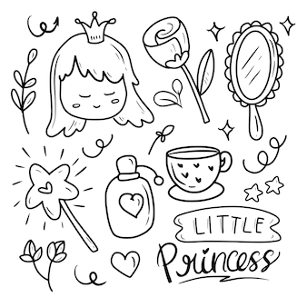 Ślicznego princess czarodziejskiej fantazi doodle rysunkowa ilustracyjna kolekcja