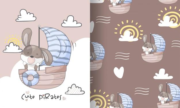 Ślicznego szczeniaka piratów bezszwowa deseniowa ilustracja dla dzieciaków