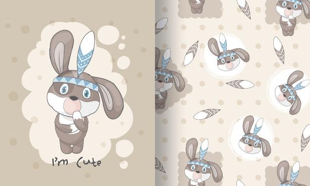 Ślicznego szczeniaka plemienna bezszwowa deseniowa ilustracja dla dzieciaków
