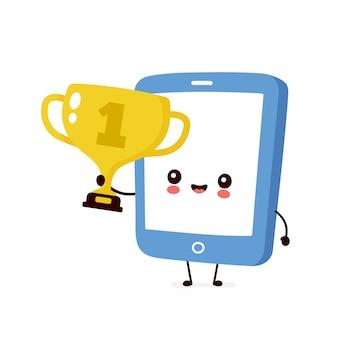 Ślicznego uśmiechniętego szczęśliwego smartphone chwyta trofeum złota filiżanka. kreskówka płaski charakter ikona ilustracja projektu. na białym tle. smartphone telefon z zwycięzcy trofeum pucharu charakteru pojęciem