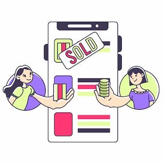 Ślicznej dziewczyny ilustracyjny zakupy i online handlowa ui kreskówka