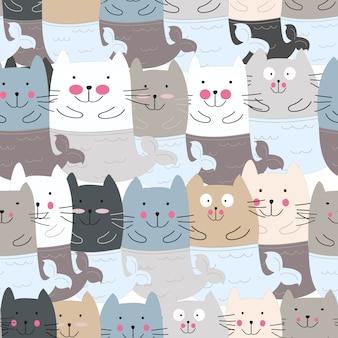 Ślicznej kot syrenki kreskówki bezszwowy wzór