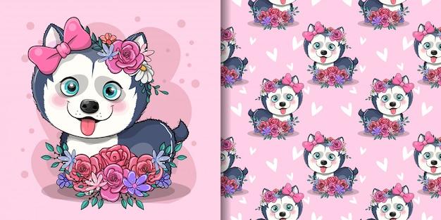 Ślicznej kreskówki husky szczeniak z kwiatami