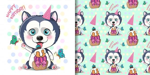 Ślicznej kreskówki husky szczeniak z urodzinowym tortem