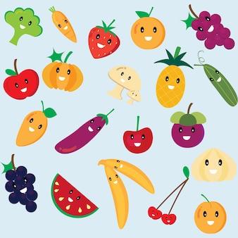 Ślicznej kreskówki kolorowe owoc i warzywo