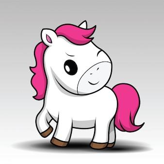 Ślicznej kreskówki mały biały dziecko koń z różowym włosy