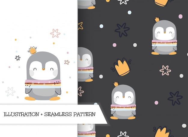 Ślicznej kreskówki płascy ilustracyjni pingwiny z wzorem