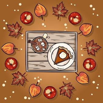 Ślicznej kreskówki plasterka dyniowy kulebiak i cacao gorąca czekolada w wianku jesień liście ilustracyjni.