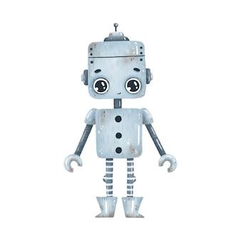 Ślicznej kreskówki szary robot z dużymi oczami na białym tle