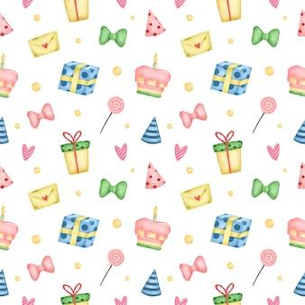 Ślicznej kreskówki urodzinowy bezszwowy wzór na białym tle. przyjęcie urodzinowe z ciastem, prezentami, słodyczami i czapkami urodzinowymi