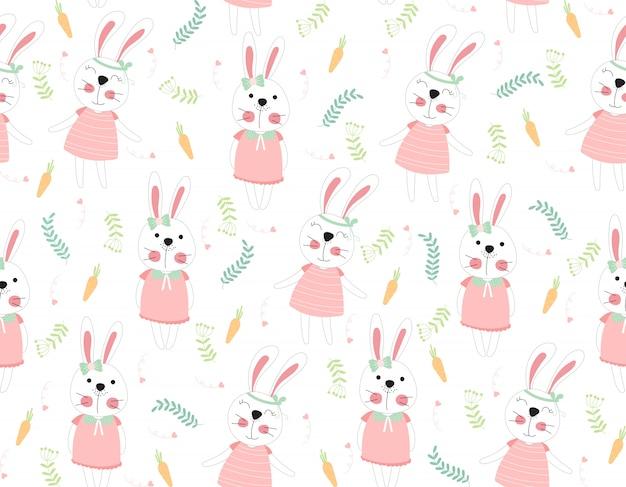 Ślicznej królik kreskówki bezszwowy deseniowy zwierzę