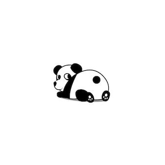 Ślicznej pandy łgarski puszek i przyglądająca wektorowa ilustracja