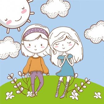 Ślicznej pary dziewczyn przyjaciół kolorowa natura