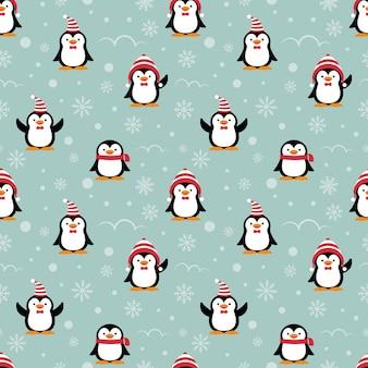 Ślicznej pingwin kreskówki bezszwowy wzór.