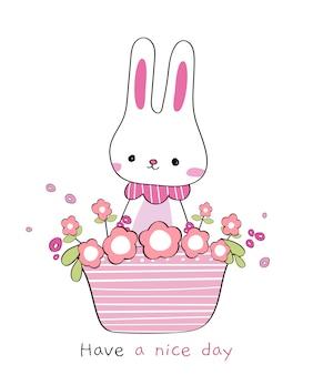 Ślicznej ręki królika powitania kreskówki rysunkowy doodle