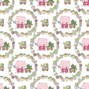 Ślicznej słonia ogrodniczki bezszwowy wzór