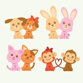 Ślicznej valentines dnia zwierzęca para ilustrująca