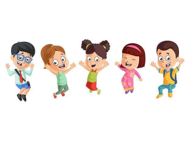 Śliczni chłopcy i dziewczęta bawią się razem z powrotem do szkolnej ilustracji