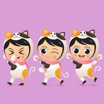 Śliczni dzieci są ubranym kota kostiumowego ilustracyjnego wektor