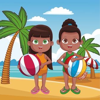 Śliczni dzieciaki ma zabawę przy plażowych kreskówek wektorowym graficznym projektem