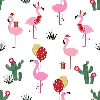 Śliczni flamingi w bożenarodzeniowym bezszwowym wzorze