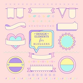 Śliczni i dziewczęcy projektów elementy dla blogger wektorowych