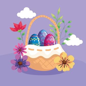 Śliczni jajka w koszykowym łozinowym z dekoracją