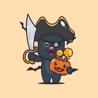 Śliczni kot piraci z mieczem niosący halloweenową dynię śliczną halloweenową ilustrację kreskówki