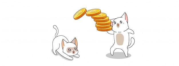 Śliczni koty bawić się z pieniądze