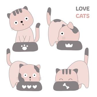 Śliczni koty bezszwowa deseniowa ręka rysujący styl
