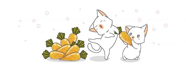 Śliczni koty i marchewki ilustracyjni