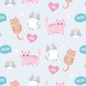 Śliczni koty meow uwielbiają zwierzęta domowe kreskówki zwierzęcia śmiesznego charakteru tło