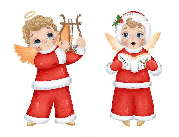 Śliczni kreskówek bożych narodzeń aniołów chłopiec bawić się harfę i śpiewa noel. zestaw świątecznych aniołów.