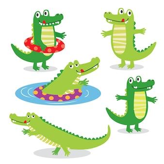 Śliczni krokodyli charaktery ustawiają, wektorowa ilustracja