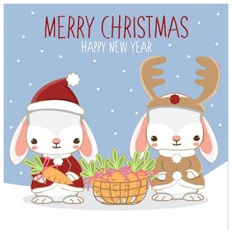 Śliczni króliki i marchewka dla bożych narodzeń festiwalu