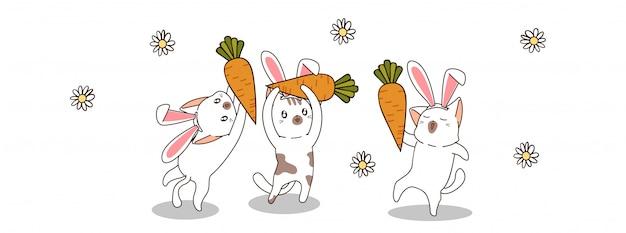 Śliczni królików koty w wiosna dniu