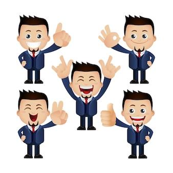 Śliczni ludzie ludzie biznesu z różnymi emocjami
